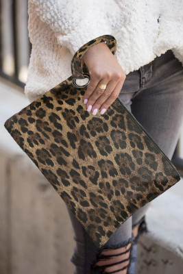 Trendy bruine luipaard clutch