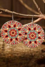 Brincos de mandala geométrica vintage vermelha com paisley