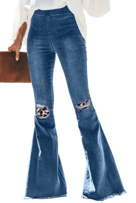 Leopard Patchwork Bell Bottom Jeans With Frayed Hem