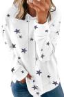 White Star Print Hoodie mit Seitenschlitzen