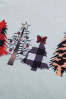 Red Christmas Pattern Plaid Splice Langarm-Top