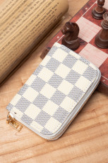 White Checkered Print PU Purse