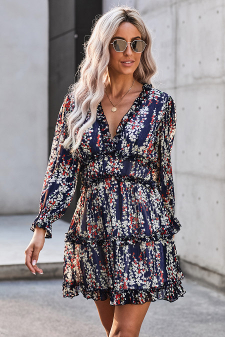 Blue Ruffle Detailing Open Back Floral Dress