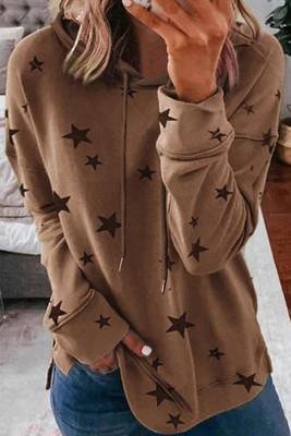 Khaki Star Print Hoodie mit Seitenschlitzen
