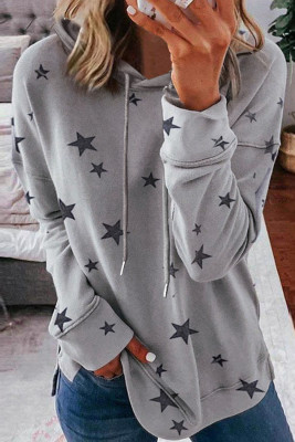 Sudadera gris con estampado de estrellas y aberturas laterales