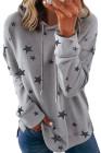 Grauer Hoodie mit Sternenmuster und Seitenschlitzen