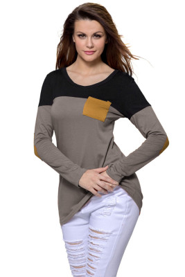 Brown Black Color Block Patch Insert Long Sleeve Blouse Top