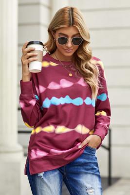 Rosy Tie Dye Bedrucktes Sweatshirt