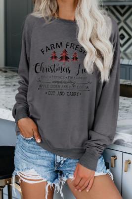 Graues Weihnachts-Sweatshirt mit Rundhalsausschnitt