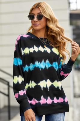 Schwarzes Batik bedrucktes Sweatshirt