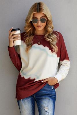Rotes Farbblock-Sweatshirt