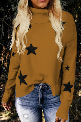 Khaki Turtleneck Dropped Sleeve Star Print Sweater