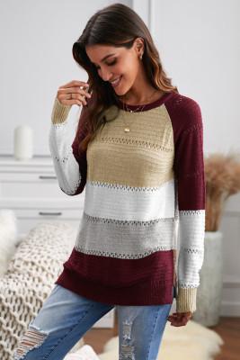 Wine Accent Knitted Color Block Langarm-Pullover mit Rundhalsausschnitt