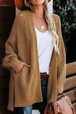 Apricot Drop Sleeve Cable Knit Cardigan with Slits