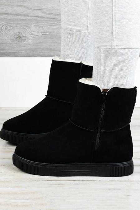 Botas de borracha de pelúcia com zíper preto para neve quente