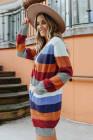 Cárdigan de bolsillo a rayas multicolor