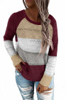 Вязаный свитер с длинными рукавами и круглым вырезом с акцентом на вино