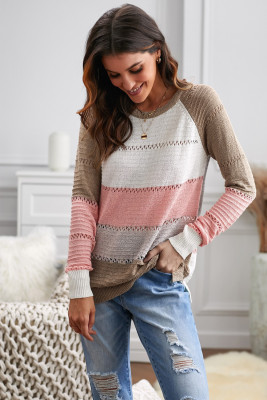Multi-color Knitted Color Block Long Sleeve Crew Neck Sweater