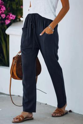 Pantalones de cintura elástica con cordón casual azul con bolsillos