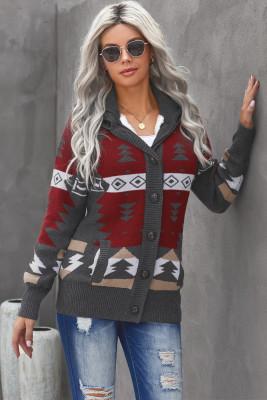 Серый свитер с капюшоном на пуговицах спереди из жаккарда в стиле ретро