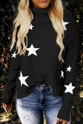 Black Turtleneck Dropped Sleeve Star Print Sweater