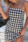 Plaid Spaghetti Strap Open Back Bodycon Dress