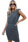 Black Ruched Shimmer Mini Dress