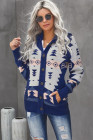 Blauer Retro-Jacquard-Muster-geknöpfter Kapuzenpullover vorne