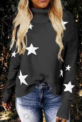 Gray Turtleneck Dropped Sleeve Star Print Sweater