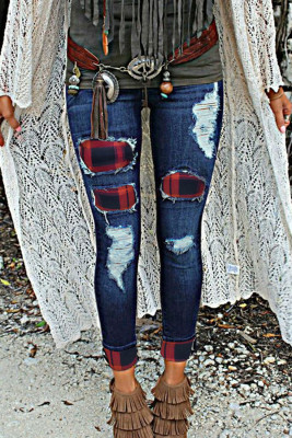 Red Plaid Splicing Hollow Out Ripped Jeans