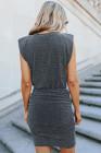 Mini vestido fruncido brillante negro