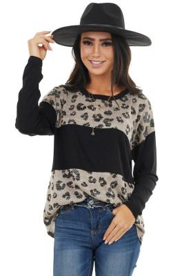 Top noir à manches longues imprimé léopard color block