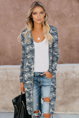 Gray Camo Print Long Cardigan