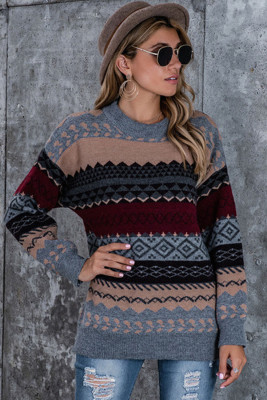 Burgundy Accent Printed Ribbed Trim Pullover Sweater