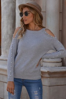 Gray Beaded Cold Shoulder Knit Sweater