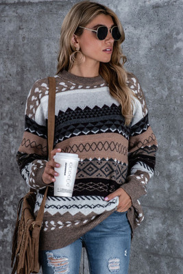 Brown Accent Printed Ribbed Trim Pullover Sweater