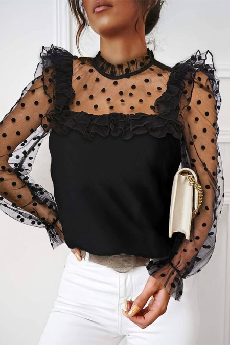 Black Polka Dot Mesh Ruffles Long Sleeve Top