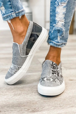 Gray Snake Leopard Mixed Print Slip-on Canvas