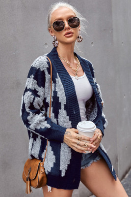 Blue Buttoned Patterned Knit Cardigan