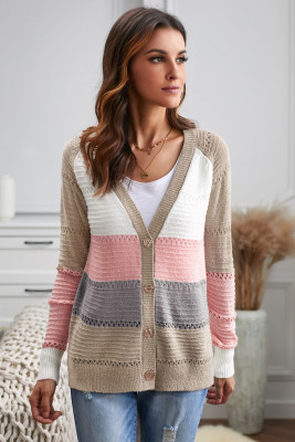 Multicolor V-neck Color Block Button Closure Eyelet Cardigan