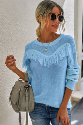 Blue Fringed Pullover Knit Sweater