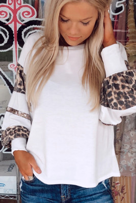 Sequins Patchwork Leopard Print White Crew Collar Long Sleeve Top