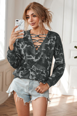 Gray Hollow-out V Neck Camouflage Blouse