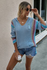 Blue Long Sleeve Striped Hooded Sweater