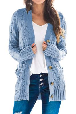 Sky Blue Button Taschenstrickjacke