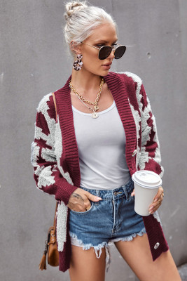 Wine Buttoned Patterned Knit Cardigan