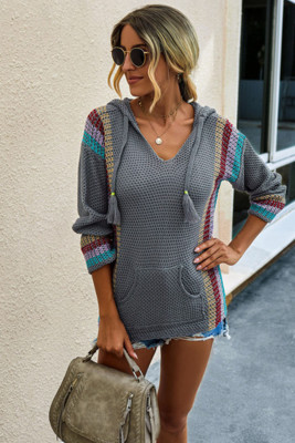 Gray Long Sleeve Striped Hooded Sweater