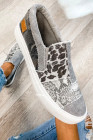 Šedé hadí leopardí kombinované plátno