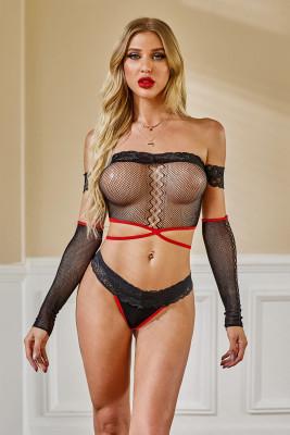 Conjunto de bralette sexy de malla de encaje negro
