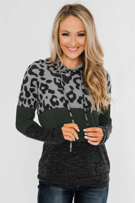 Green Leopard Print Color Block Drawstring Hoodie